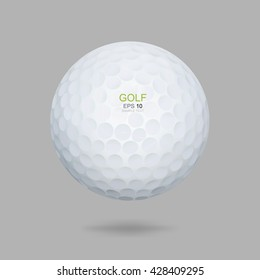 White golf ball on gray background. Vector graphic design for golf sport.
