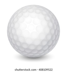 a91ee0a8 White Golf Ball. Realistic Vector Illustration. Isolated on White  Background.