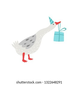 White Goose Holding Gift Box in Its Beak, Cute Bird Cartoon Character Wearing Party Hat Vector Illustration