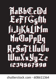 White gothic font with red shadows. Full alphabet set with digits