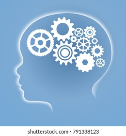 White gradient kid head with brain flat gear (can change background). Vector illustration of a young kid gear brain smart white concept on blue gradient background.