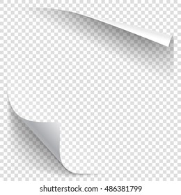 White gradient paper curl with shadow isolated on transparent background. Vector sticker paper note for memo and notice. Vector template illustration for your design