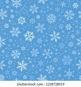 White gradient spot snow flake tracery seamless pattern on blue. Abstract geometric texture background vector illustration. Winter xmas new year ornament for prints, package, cover, greeting card