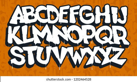 White graffiti font on an orange background, vector illustration.