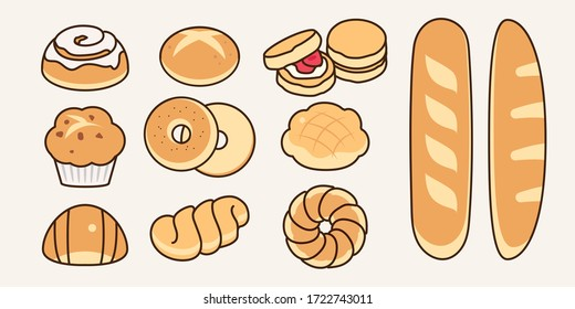 White grain bread collection with different shape: cinnamon roll, bun, scone, bagel, melon pan,  cream croissant, donuts. Traditional baked dough icon vector illustration flat design drawing.