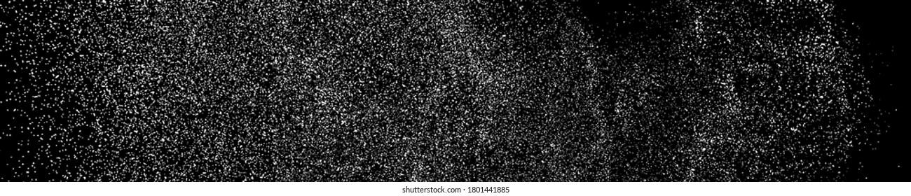 White Grainy Texture On Black. Panoramic Background. Wide Horizontal Long Banner For Site. Dust Overlay. Light Coloured Noise Granules. Snow Vector Elements. Illustration, EPS 10.