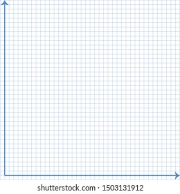 White graph paper, blue line with x axis, y axis