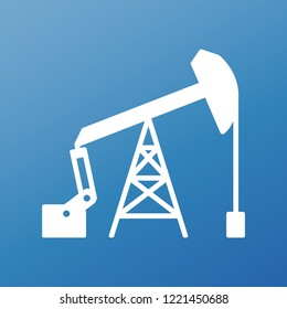 White graphic flat vector oil pump icon on blue background. Sucker rod pump sign for petroleum industry. EPS 10