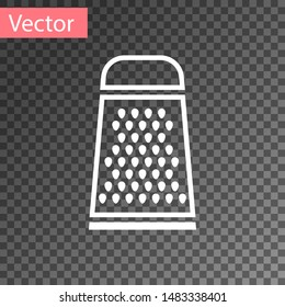White Grater icon isolated on transparent background. Kitchen symbol. Cooking utensil. Cutlery sign.  Vector Illustration