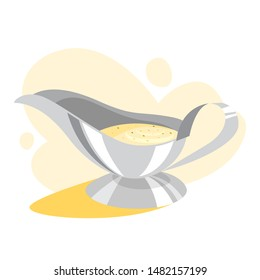 White gravy boat full of sauce. Ceramic bowl, container for cream sauce. Tasty food. Vector illustration in cartoon style