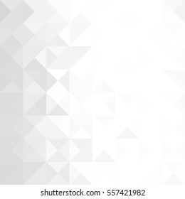 White and gray background. Geometric style. Mesh of triangles. Mosaic template for your design. Paper texture.