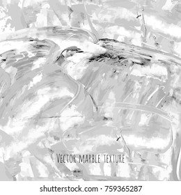 White, gray, black vector scribble marble watercolor texture background. Abstract acrylic smudge backdrop with stains, dry brush strokes, spots and ink waves. Natural stone wall for interior design.