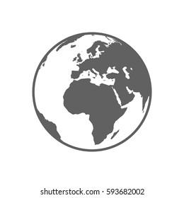White and gray flat globe symbol vector illustration.