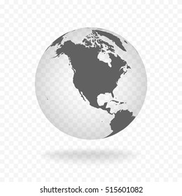 White gray globe glass transparent vector illustration