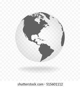 White gray globe glass transparent vector illustration