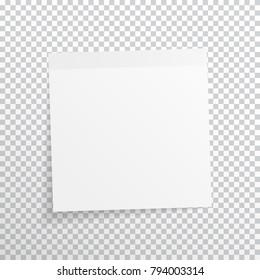 White, gray sticky note isolated on transparent background. Vector, eps10.