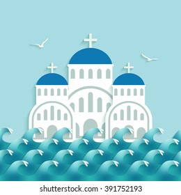 White Greek Church near blue sea. vector illustration - eps 10