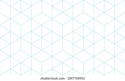 White and green aqua line geometric pattern seamless hexagon abstract vector design.