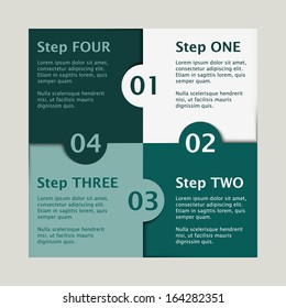 white and green colored puzzle infographic concept with numbers one, two, three and four and text