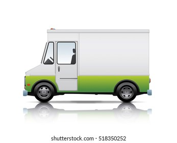 white and green van