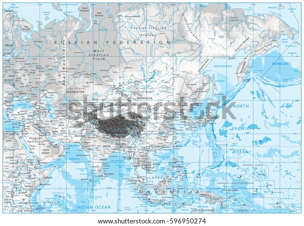 Map Of Asia With Rivers.White Grey Color Physical Map Asia Stock Vector Royalty Free 596950274