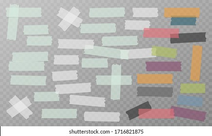 White, grey and colorful different size adhesive, sticky, masking, duct tape, paper pieces are on white background