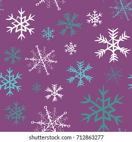 White, grey and turquoise snowflakes seamless pattern. Vector illustration on violet background