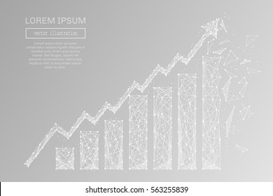 White growth chart with polygon line on abstract background. Polygonal space low poly with connecting dots and lines. Connection structure. Vector background.
