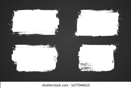 White grunge banner for your design. Abstract painted background templates. Big set of grungy banners  on black background.