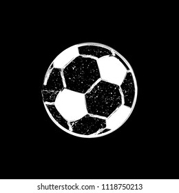 White grunge football ball silhouette with ink blots isolated on black background