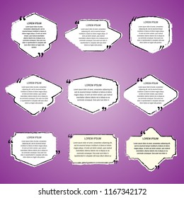 White grunge quote box set on lilac background. Templates quote bubbles or statements or comments with space for text in a flat style.