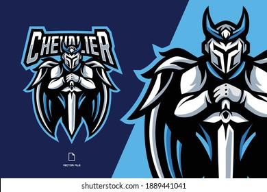 white guardian knight mascot esport game logo illustration for sport game team
