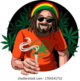 A white guy, a rastaman, with a beard, glasses, a colored hat and an orange T-shirt, smokes marijuana. Kanabis Joint. Vector illustration. For a poster.