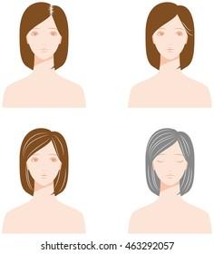 white hair, gray hair