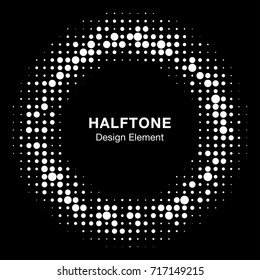 White Halftone circle vector frame with black abstract random dots, logo emblem design element for technology, medical, treatment, cosmetic. Round border Icon using halftone circle dots raster texture