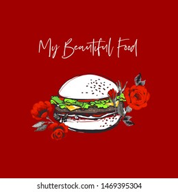 White hamburger and red roses flowers and beautiful food script. Fashion fast food stilylish modern textile t-shirt design. Vector fashion sketch. Red background. Vintage fabric print.
