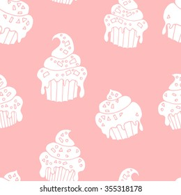 White hand drawn cupcake vector seamless pattern, pink background
