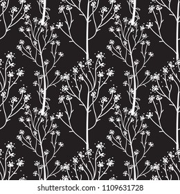 White hand drawn flower seamless pattern. Vector illustration isolated on a black color background.