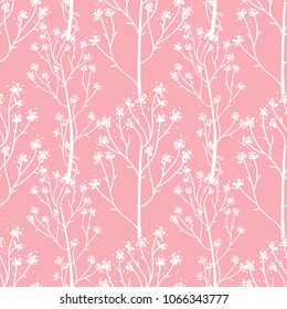 White hand drawn flower sprigs. Cute wedding seamless pattern. Vector illustration isolated on a pink color trend background.