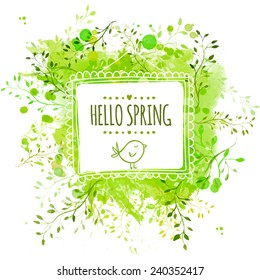White hand drawn square frame with doodle bird and text hello spring. Green watercolor splash background with leaves. Artistic vector design for banners, greeting cards, spring sales.