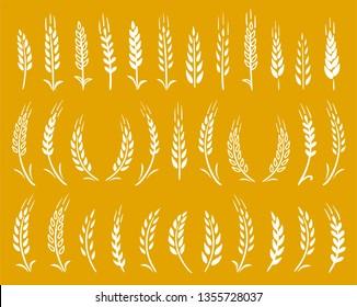 white hand drawn wheat ears icons set