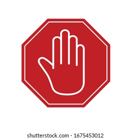 White hand on a red sign stop. Sign icon. Vector illustration. Stop virus concept.