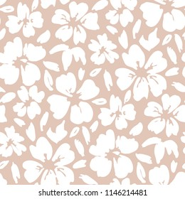 White hand painted large scale floral vector seamless pattern on pink background. Pastel stylized flowers. Abstract blooms and folage