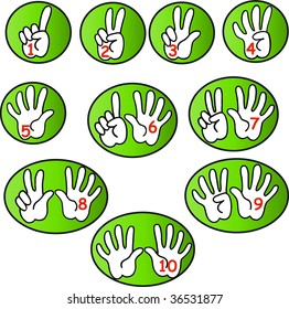White hands counting from 1 to 10 with fingers and red numbers in green bubbles icon vectors