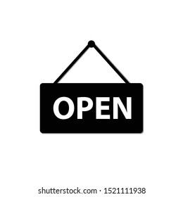 White Hanging sign with text Open door icon isolated on black background. Vector Illustration