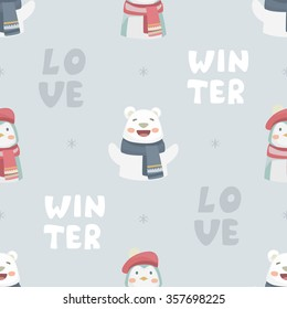 White happy cute bear and penguin wearing a warm scarfs. Vector Love winter seamless pattern