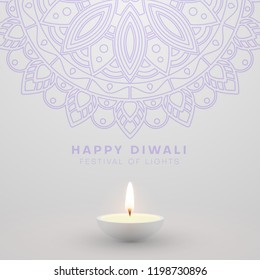 White Happy Diwali card with oil lamp and traditional mandala ornament. Festival of lights. Vector background.