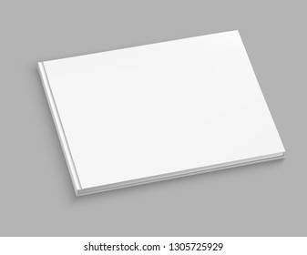 White hardcover album vector mock up on grey table. Closed book top view vector illustration