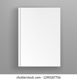 White hardcover book album vector mock up on grey table. Closed book top view vector illustration