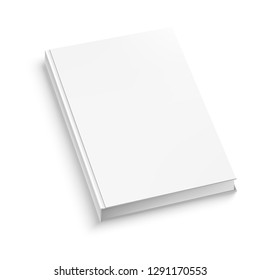 White hardcover book isolated on white background